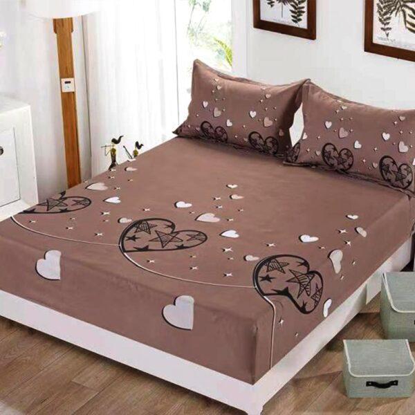 husa de pat cu elastic maro