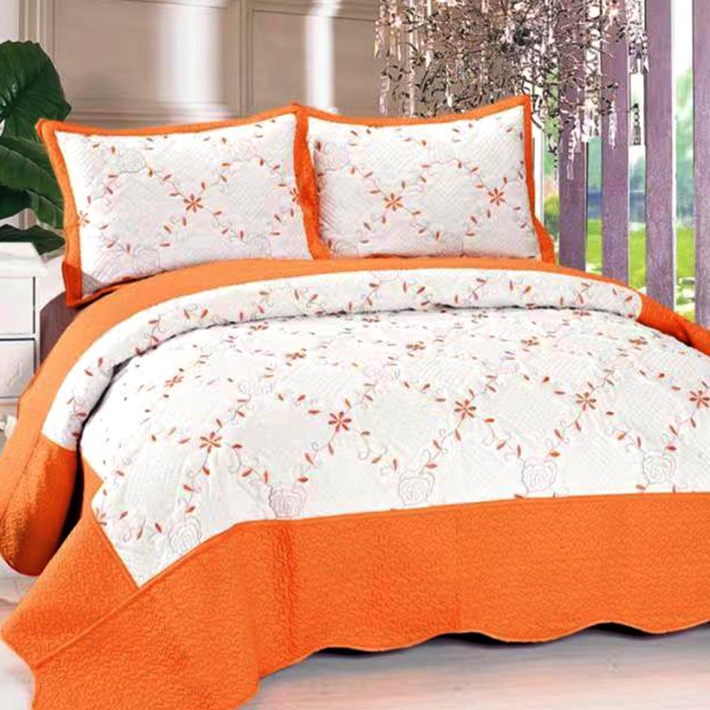 Cuvertura de pat alb cu portocaliu