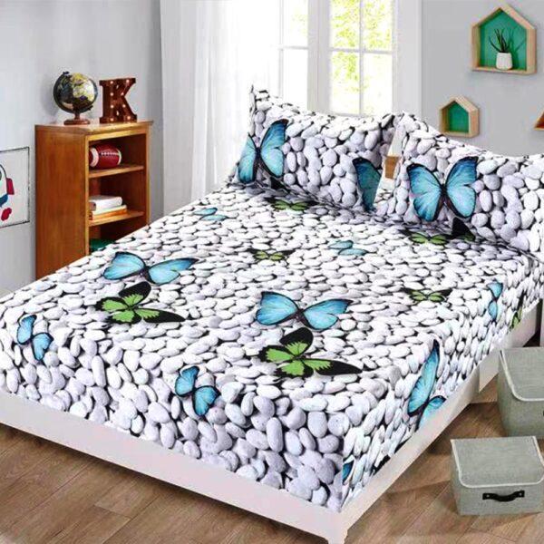 husa de pat cu elastic model fluturi 3D