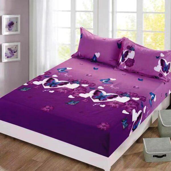 husa de pat cu elastic mov