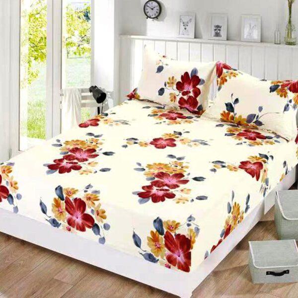 husa de pat cu elastic crem cu flori