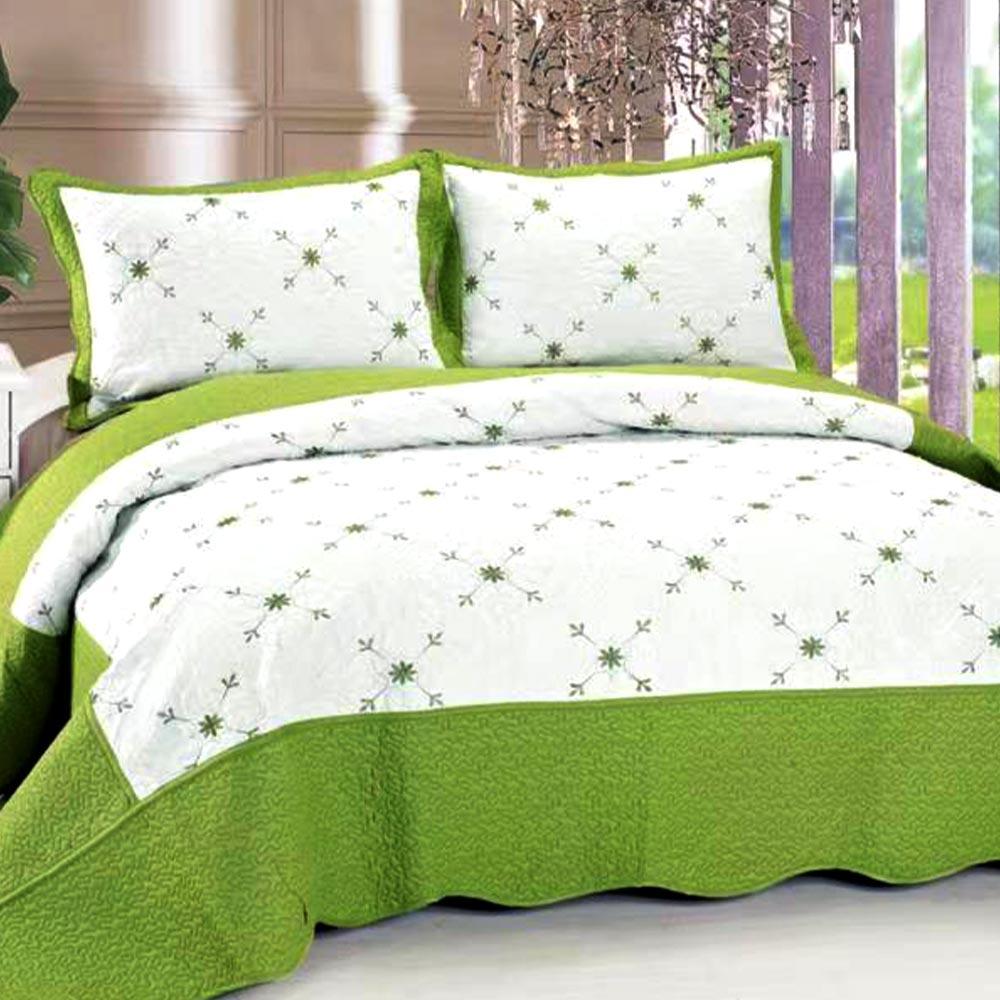 Cuvertura de pat alb cu verde