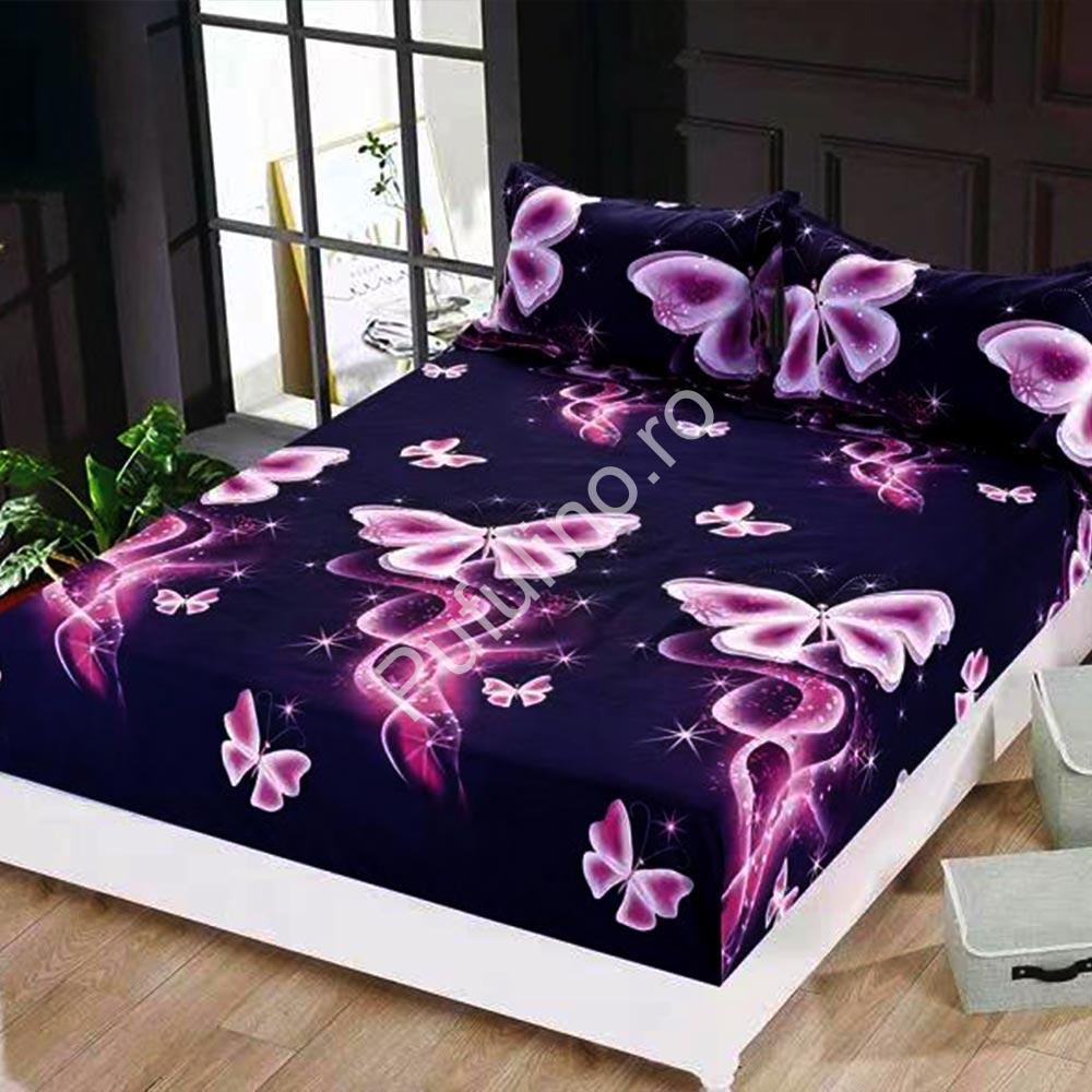 husa de pat cu elastic model cu fluturi mov