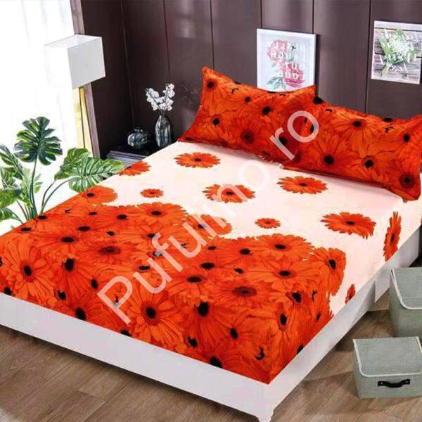 husa de pat cu elastic cu flori portocalii