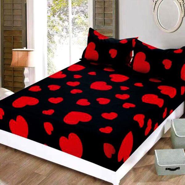 husa de pat cu elastic cu inimioare rosii