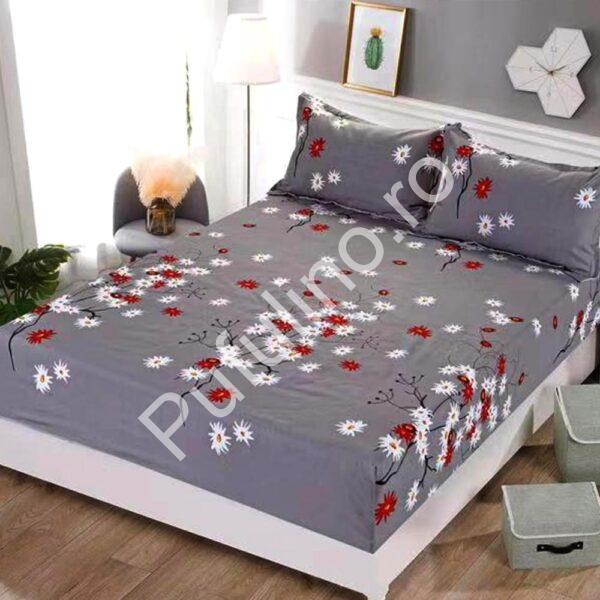 husa de pat cu elastic gri cu flori colorate