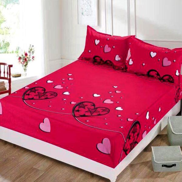 husa de pat cu elastic din bumbac roz
