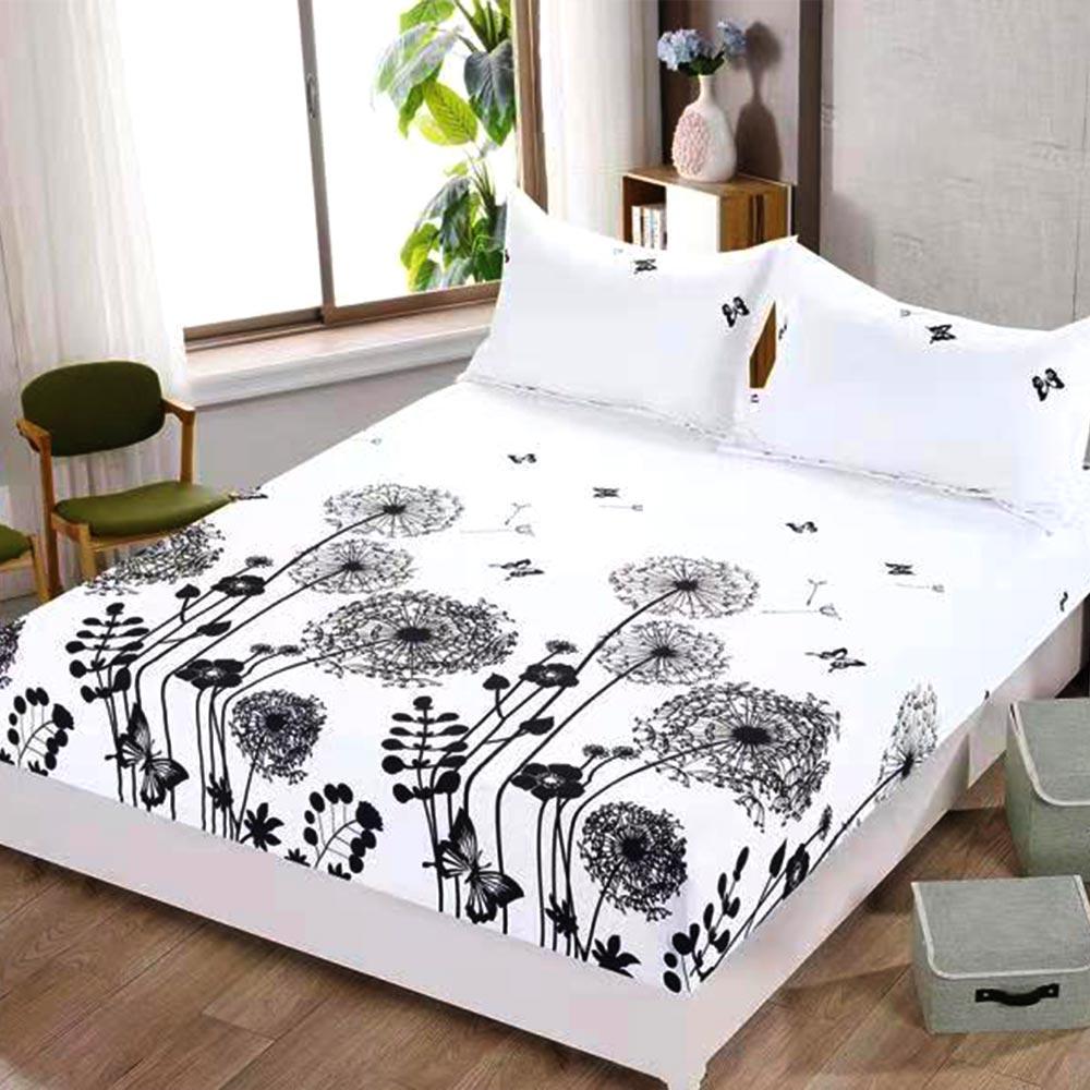 husa de pat cu elastic alba cu papadie
