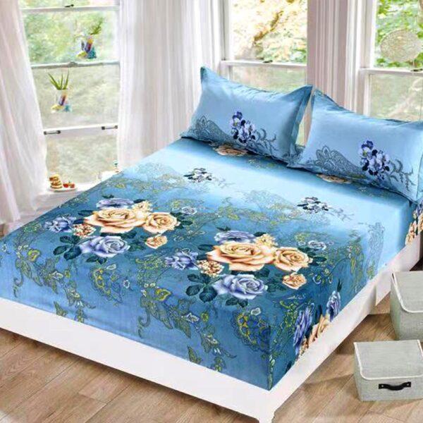 husa de pat cu elastic albastra cu flori