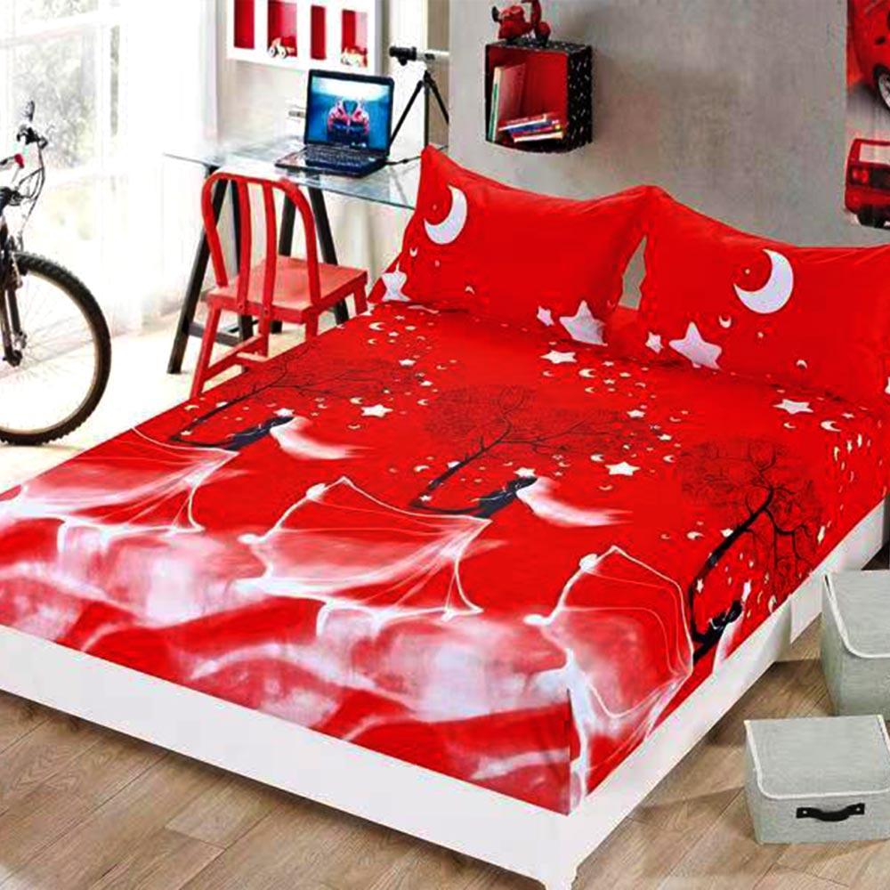 husa de pat cu elastic rosie cu stele
