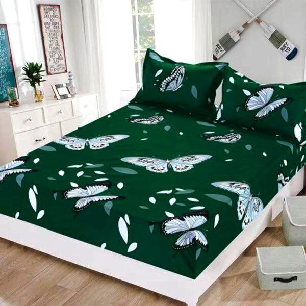 husa de pat cu elastic si perne verde
