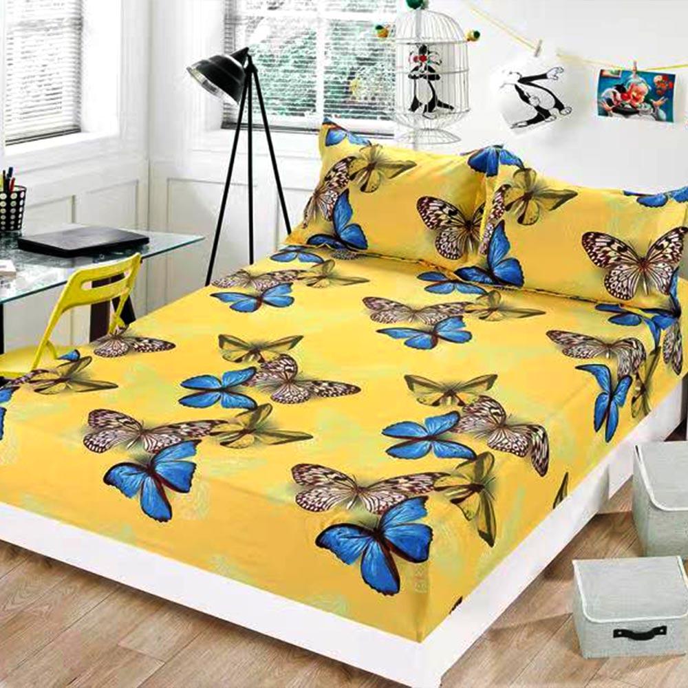 husa de pat cu elastic galbena cu fluturi