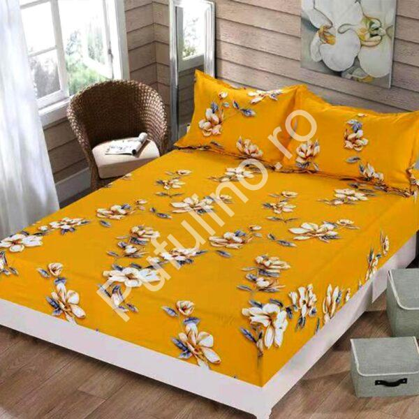 husa de pat cu elastic portocalie cu flori