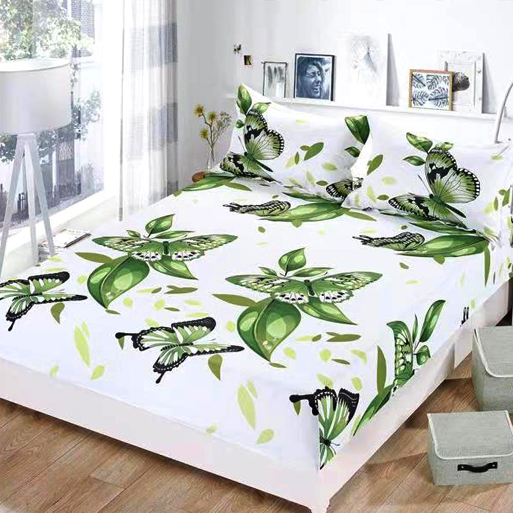 husa de pat cu elastic alba cu fluturi si flori