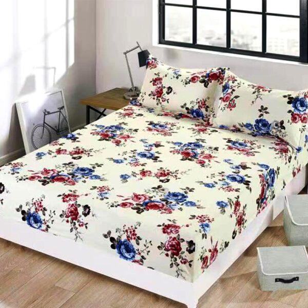 husa de pat cu elastic alba cu flori