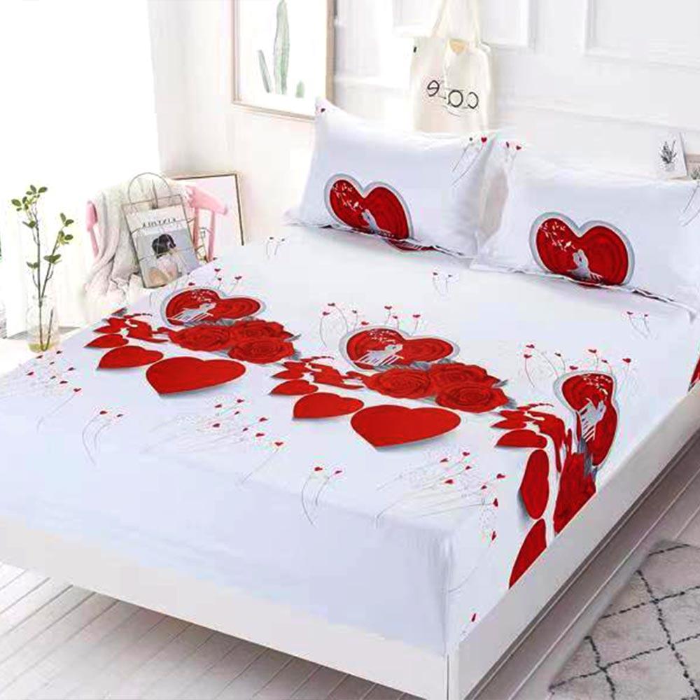 husa de pat cu elastic alba cu inimioare