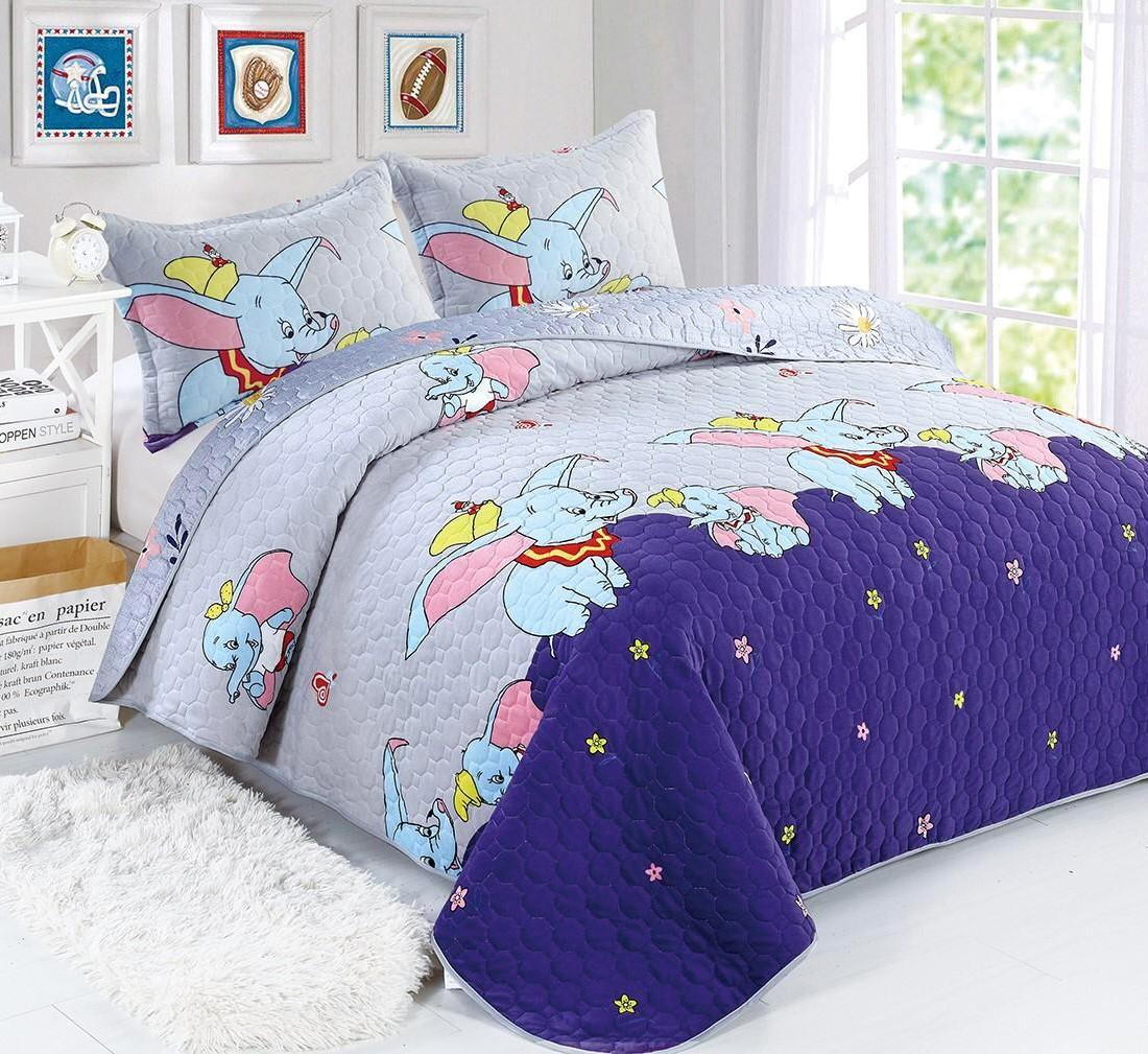 Cuvertura catifea bleu cu elefanti