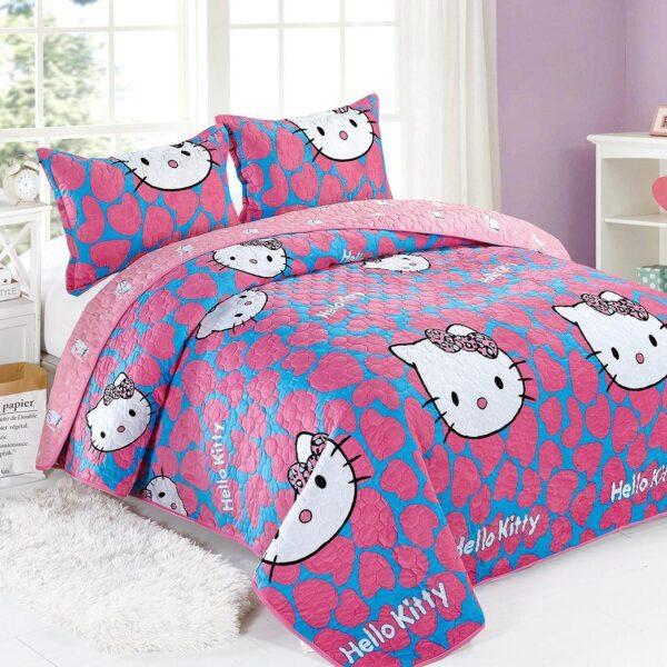Cuvertura catifea bleu cu pisicute si inimi roz (1)