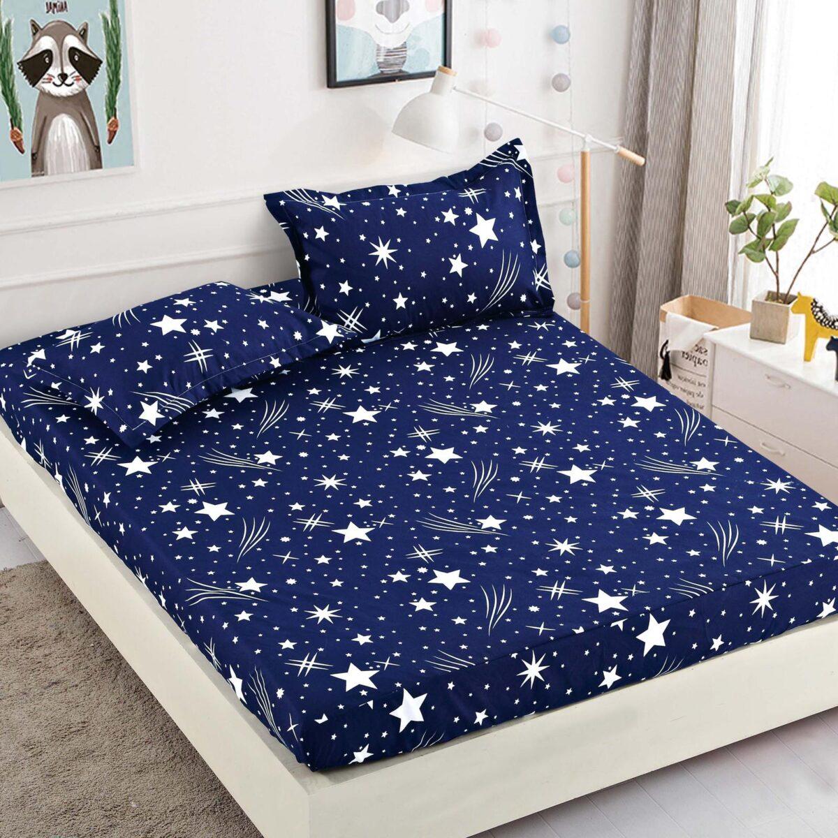 Husa cu elastic albastru cu stelute albe