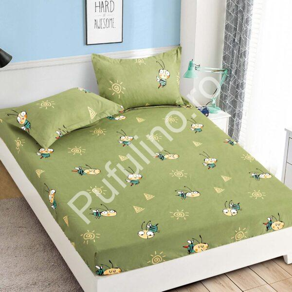 Husa de pat cu elastic verde cu albinute