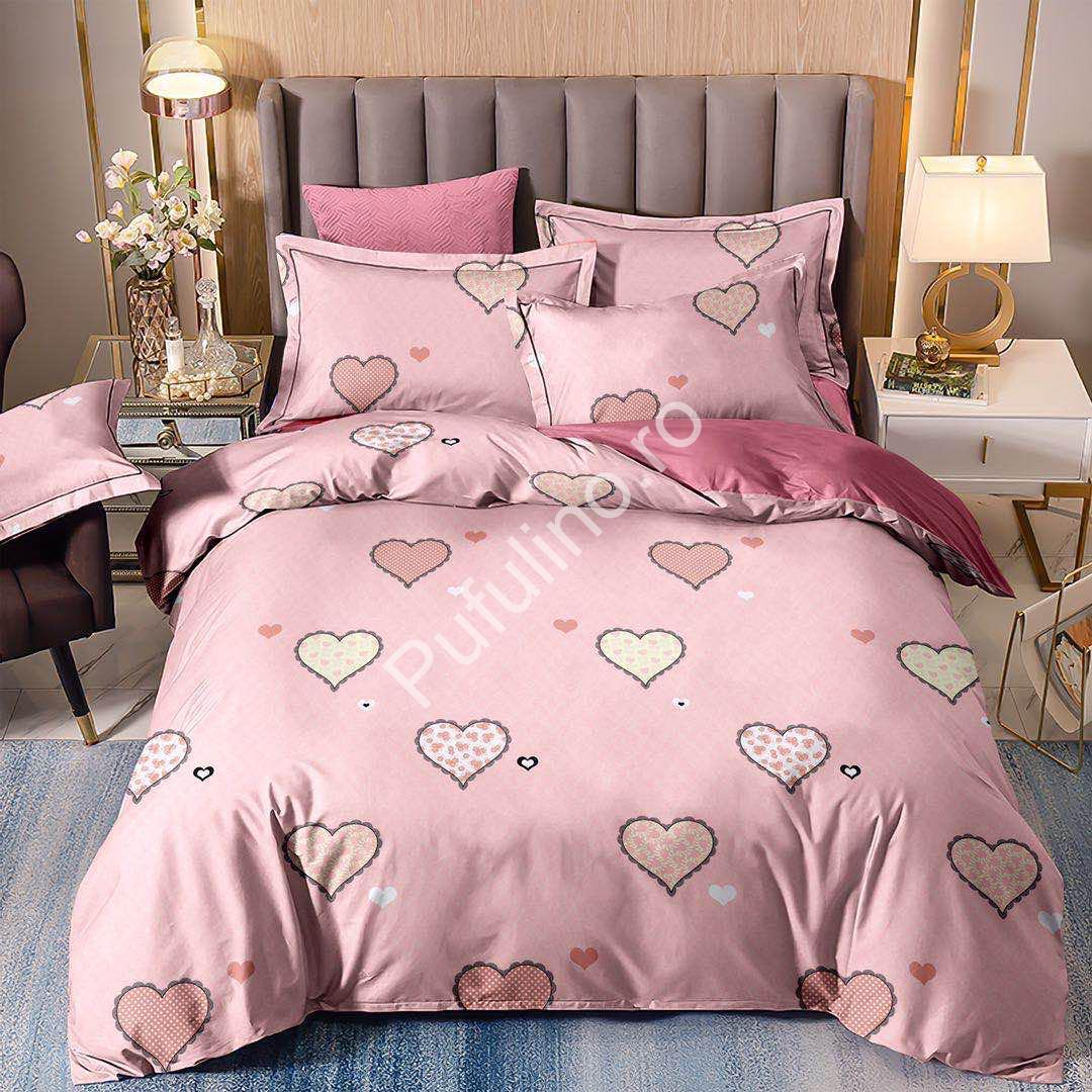 Lenjerie Finet 1 persoana inimioare roz