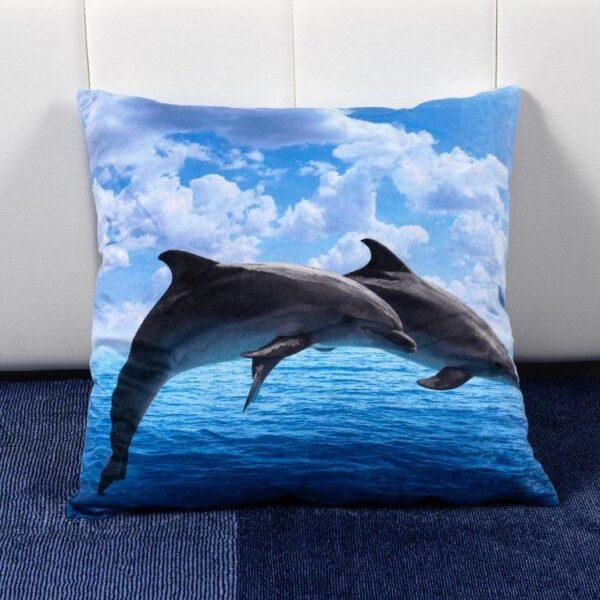 Perna decorativa bleu cu delfini