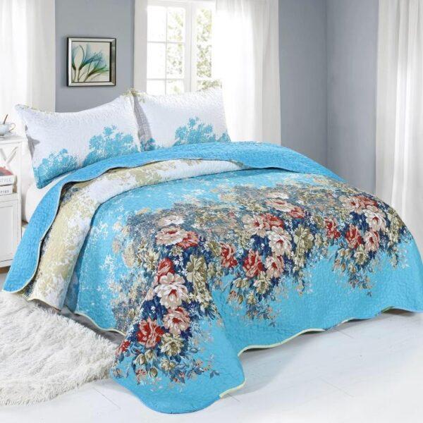 cuvertura albastra flori colorate
