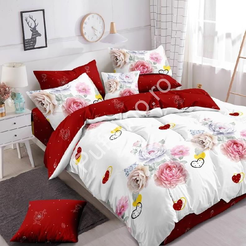 lenjerie alb rosie trandafiri