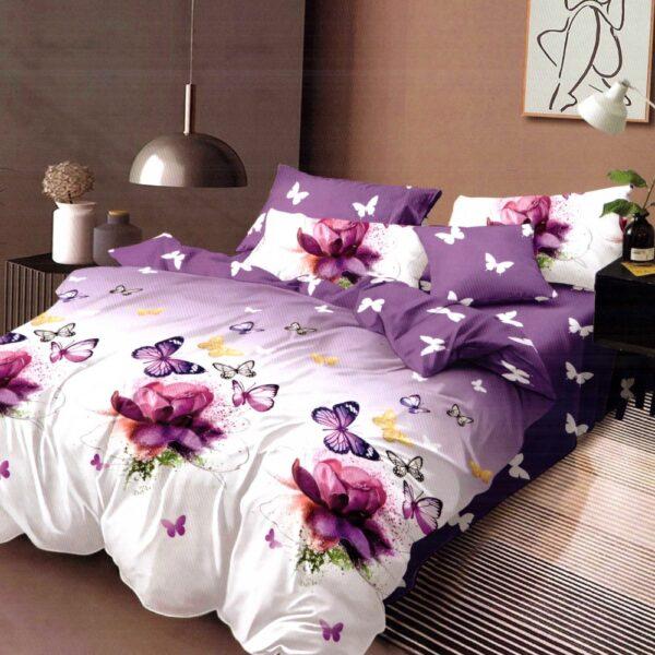 lenjerie de pat cu elastic lila