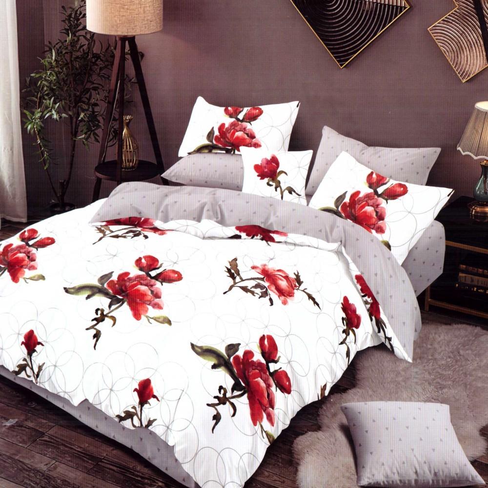 lenjerie de pat finet cu flori rosii