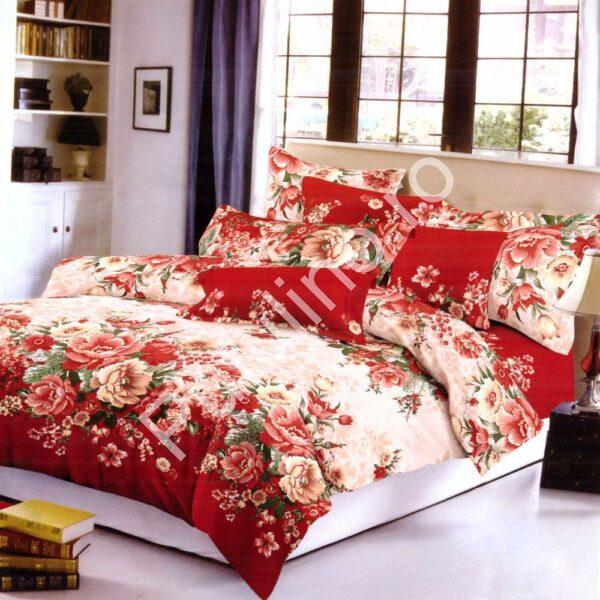 lenjerie de pat super elegant pucioasa cu trandafiri rosii
