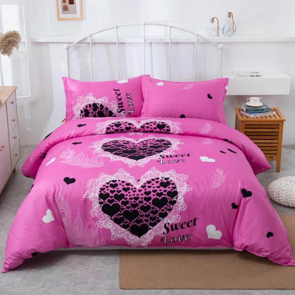 lenjerie roz cu inimi negre sweet love