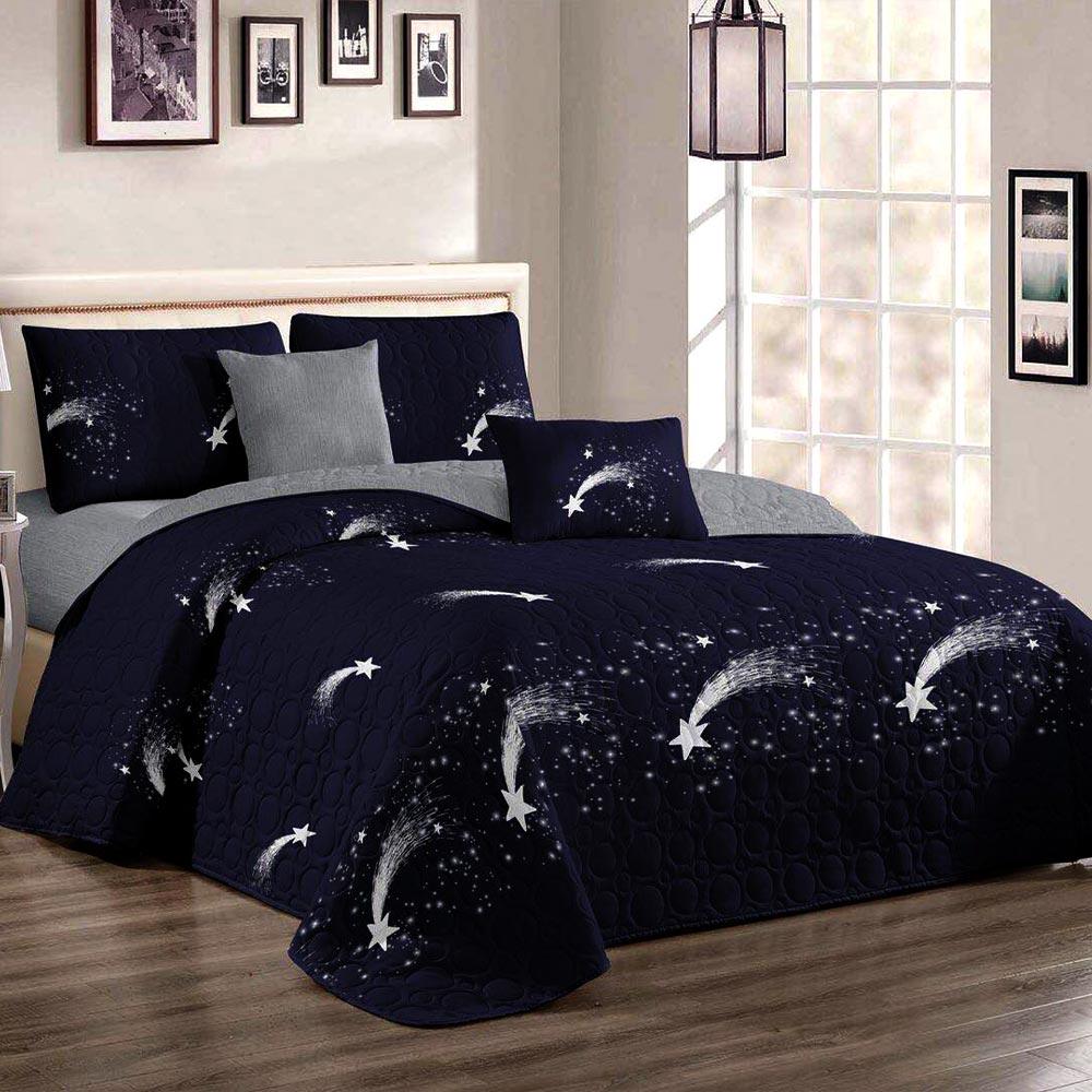 Cuvertura de pat bleumarin cu stelute