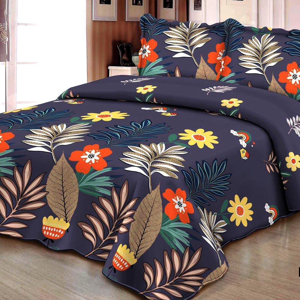 Cuvertura de pat cu flori bleumarin
