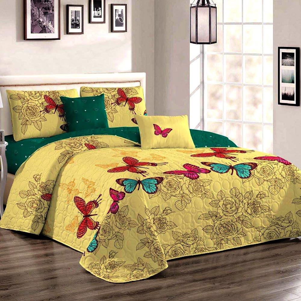 Cuvertura de pat galben cu verde