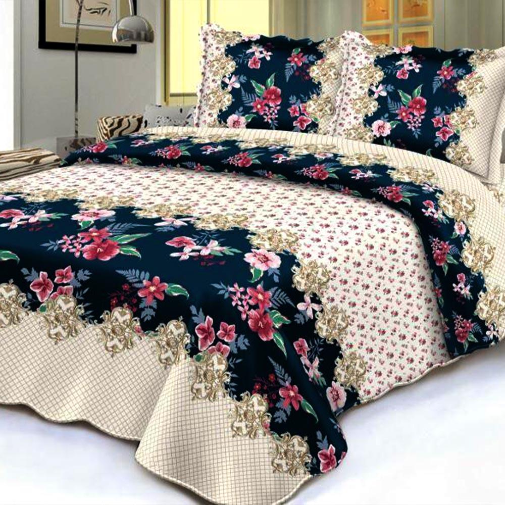 Cuvertura de pat bej cu flori multicolore
