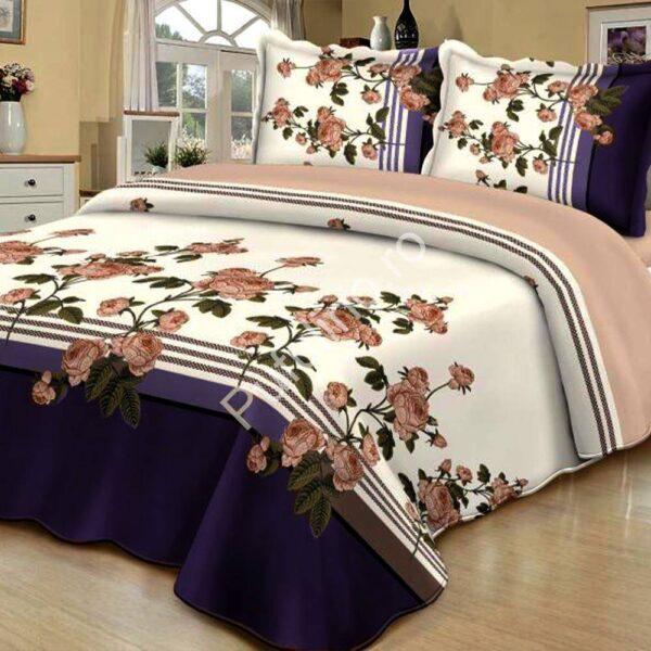 cuvertura de pat crem cu mov