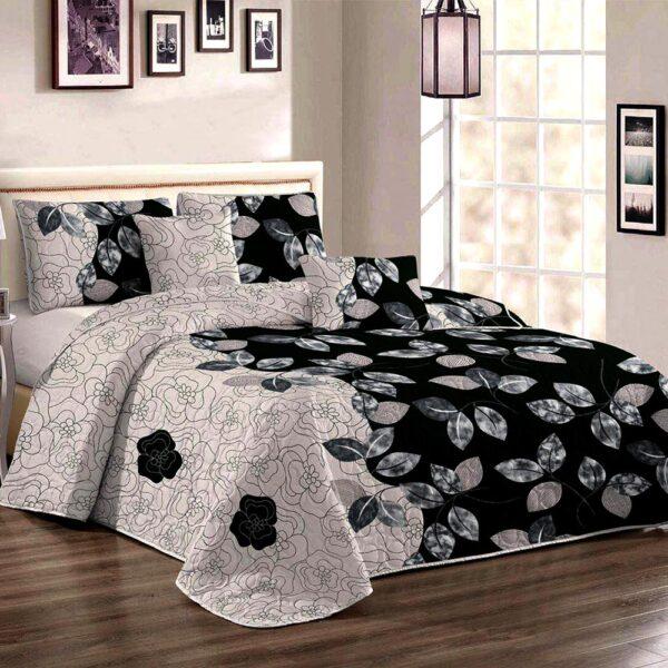 Cuvertura de pat gri cu negru