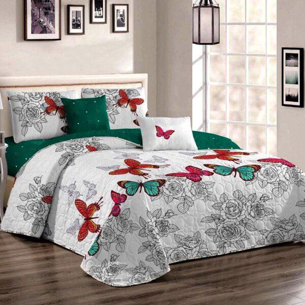 Cuvertura de pat cu fluturi multicolora