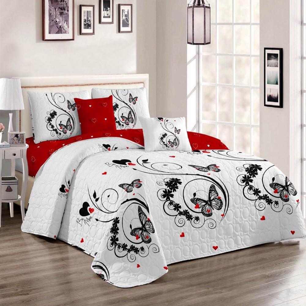 Set cuvertura de pat si perne alba cu flori
