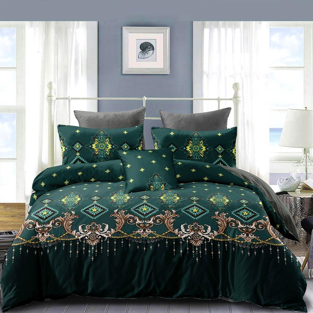 Cuvertura de pat verde cu model