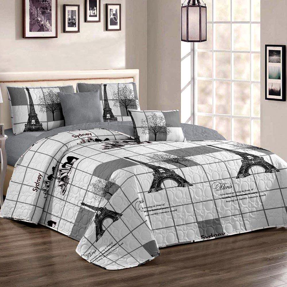 Cuvertura de pat alb cu gri model paris