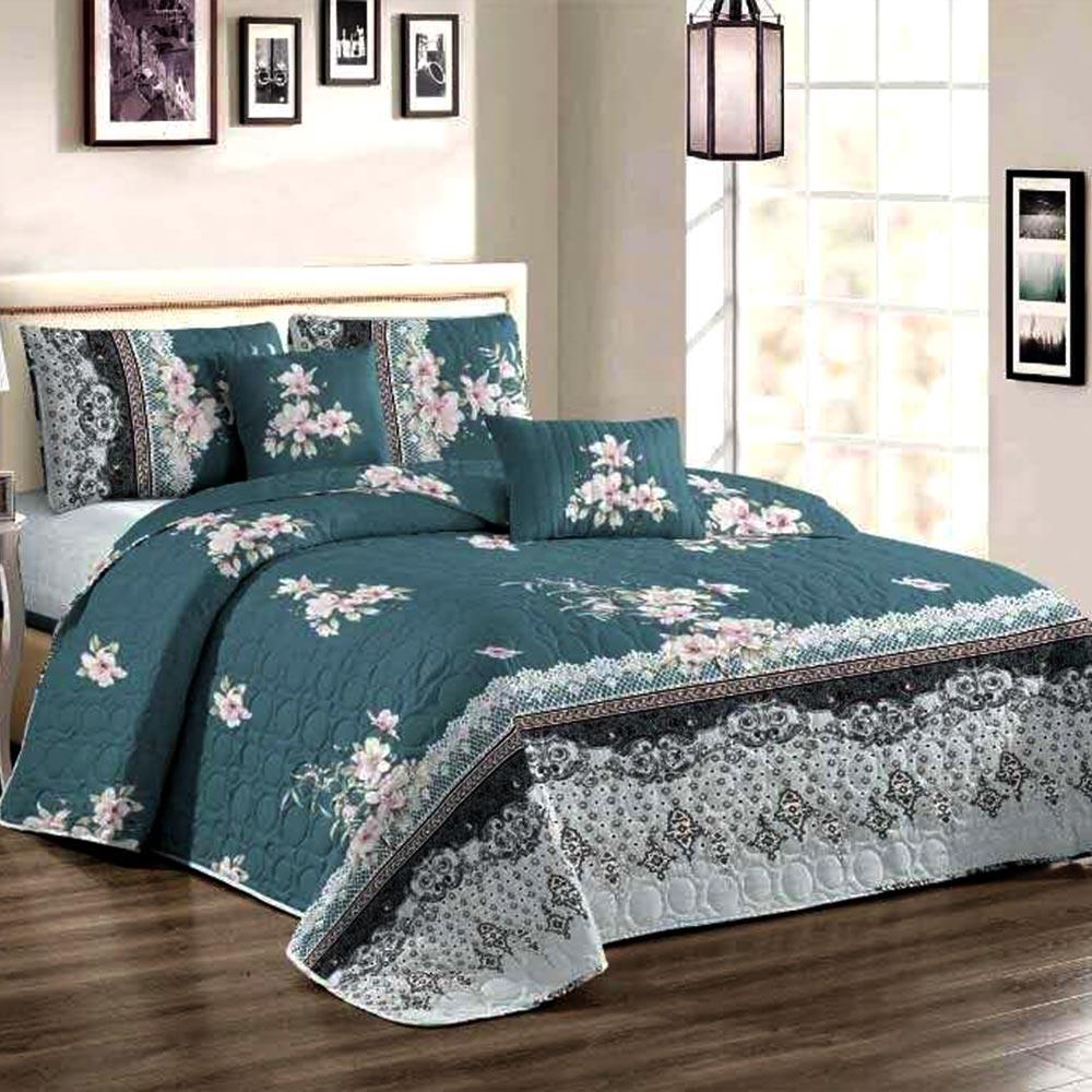 Cuvertura de pat turcoaz inchis cu flori