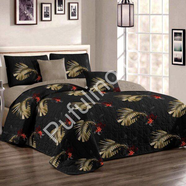 Cuvertura de pat neagra cu frunze