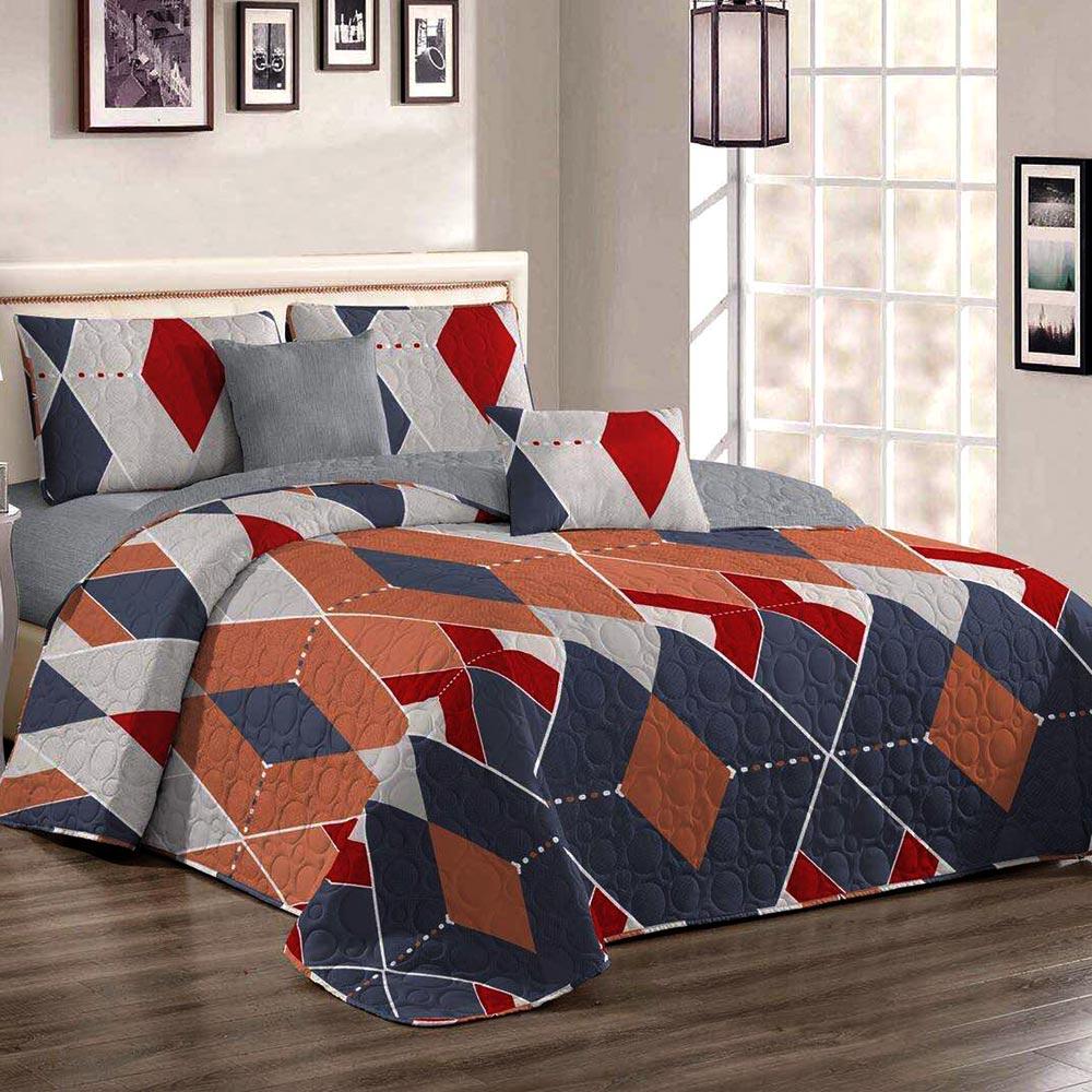 Cuvertura de pat multicolora cu forme geometrice