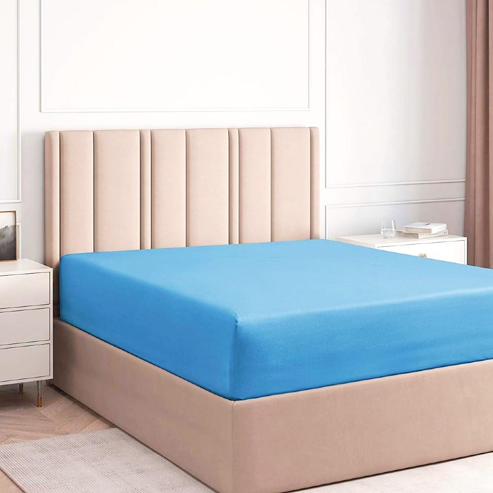 husa de pat cu elastic albastru