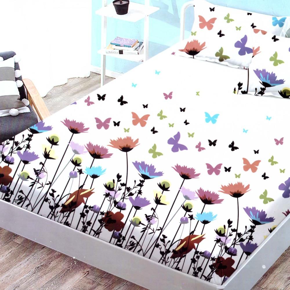 husa de pat finet cu elastic alba cu flori