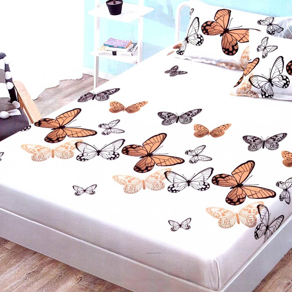 husa de pat finet cu elastic crem cu fluturi crem