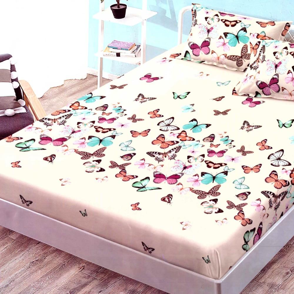 husa de pat finet cu elastic crem cu fluturi