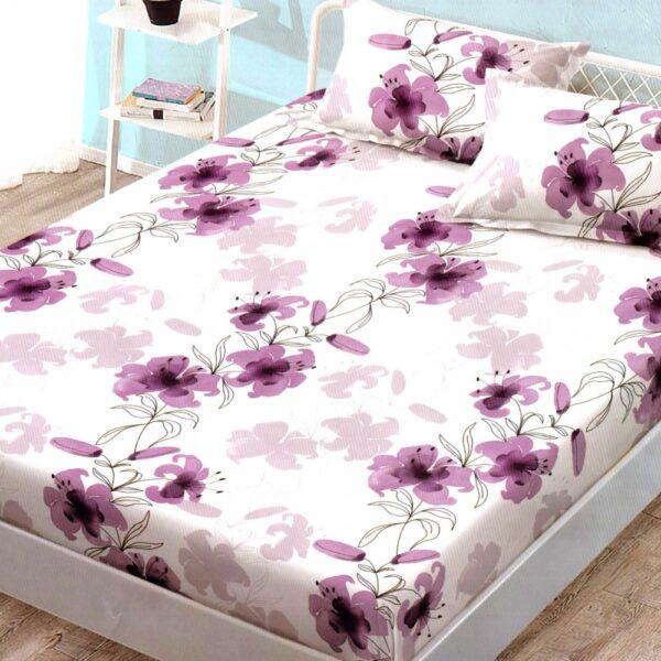 husa de pat finet cu elastic cu flori mov